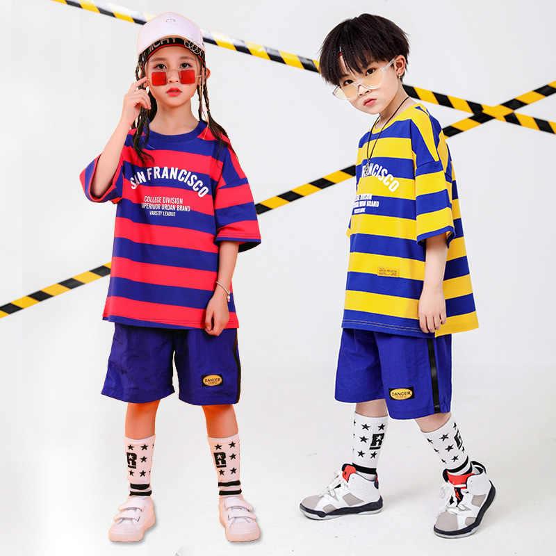 Ropa de Hip Hop para niños, camiseta de gran tamaño, pantalones cortos para niñas, trajes de baile de Jazz, ropa de baile de salón