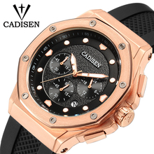 CADISEN Mens Watch Sport Chronograph Silicone Strap Quartz Watches Male Clock Men Brand Luxury Men Wristwatch Relogio Masculino стоимость