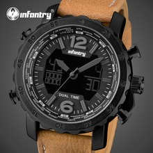 INFANTRY Men Sports Watches 30M Waterproof Luxury Brand Wrist Watch Genuine Leather Strap Analog Display Military Big Dial Watch
