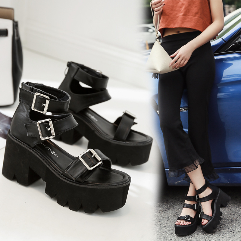Fashion Women Sandals High Thick Heel Open Toe Buckle Strap Platform Shoes Female Black Simple Design Unique Shoes(China)