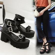 Fashion Women Sandals High Thick Heel Open Toe Buckle Strap Platform Shoes Female Black Simple Design Unique Shoes