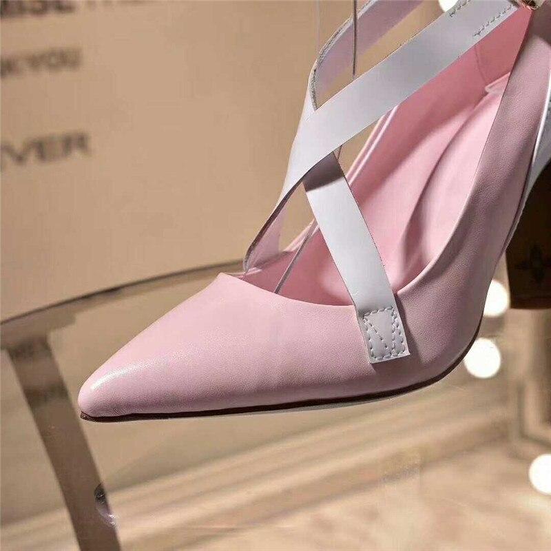 Fashional Estate Marca Signora Del Sexy Lusso Progettista Genuino Tacco Donne Della Di Confortevole 2018 Davvero Black Europeo Scarpe Cuoio pink Sandali qEA4Z6U