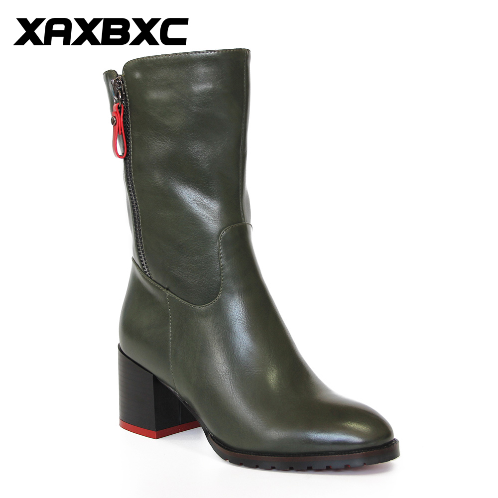 XAXBXC Retro British Style Leather Brogues Oxfords Green Short Boot Women Shoes Thick Heel Pointed Toe