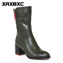 5159a54ca4c8b5 XAXBXC Retro Britischen Stil Leder Brogues Oxfords Grün Kurze Stiefel Frauen  Schuhe Starke Ferse Spitzschuh Handgefertigte Casua.