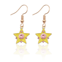 Fashion Creative Sakura Card Captor Earrings Ms. Mini Enamel Crystal Pentagram Star Pendant Gold Gift