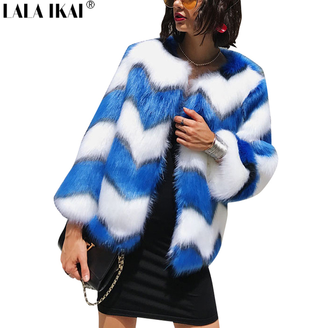 70dffb838cb8 Winter Warm Fluffy Faux Fur Coat for Women Striped White and Blue Fur  Jackets Long Hair Open Stitch Short Outwear New SWQ0344-45