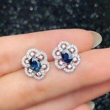 shilovem 925 sterling silver Natural sapphire Ring pendants earrings fine Jewelry women ethnic  wedding open btz040601agl цены онлайн