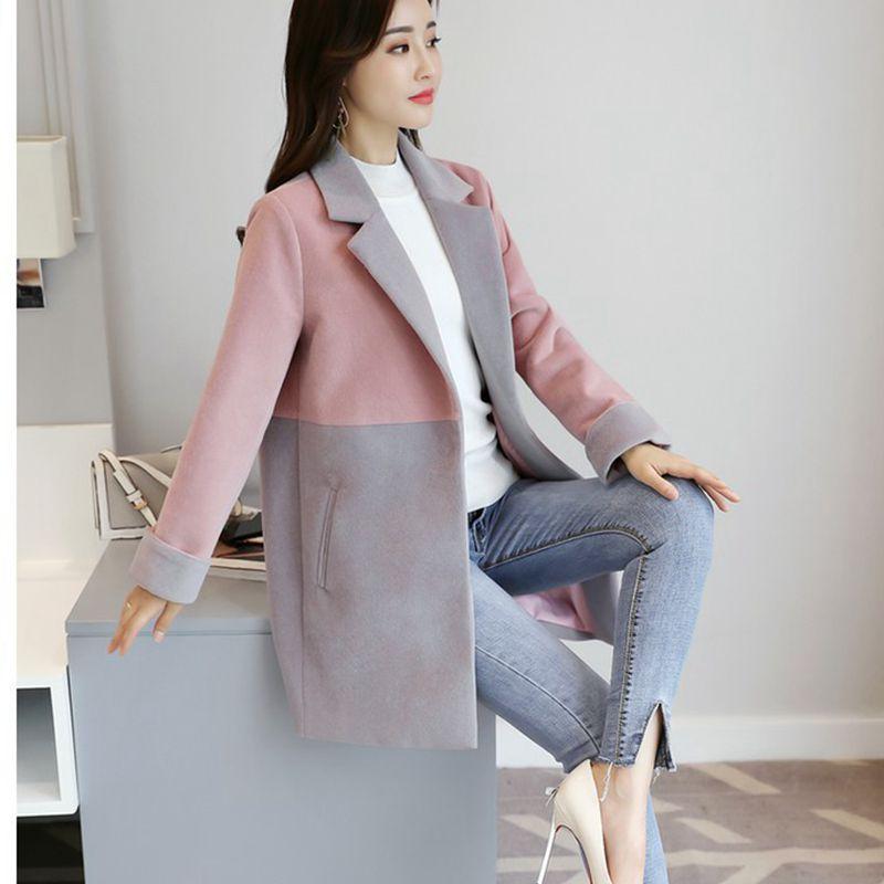 Clour Occasionnel pink Hiver Lâche Manteau 2018 Survêtement Mélanges Femelle Caramel Mode Nzyd817 De Automne Femmes Style Nouveau Long Laine Mi Veste 1SAFxSHBqw