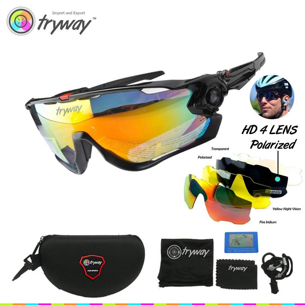 Prix pour Tryway Marque Polarisées occhiali ciclismo Cyclisme lunettes 4 lentille VTT Route Lunettes TR90 Lunettes Cicismo oculos de sol JBR lunettes de soleil
