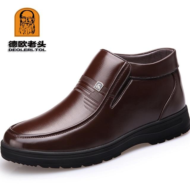 2018 新マン冬のブーツの品質ソフトレザー父の靴ブランド白ウールインナーブーツ 38-44 男雪革ブーツ