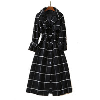 top brand single breasted white black plaid wool coat winter women's high quality woolen coats outerwear size xl free shipping