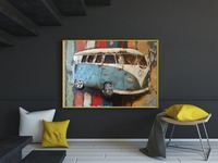 Giclee Prints Vintage Posters Retro Bus Vintage Wall Papers Home Decor Retro Art Painting Canvas Custom