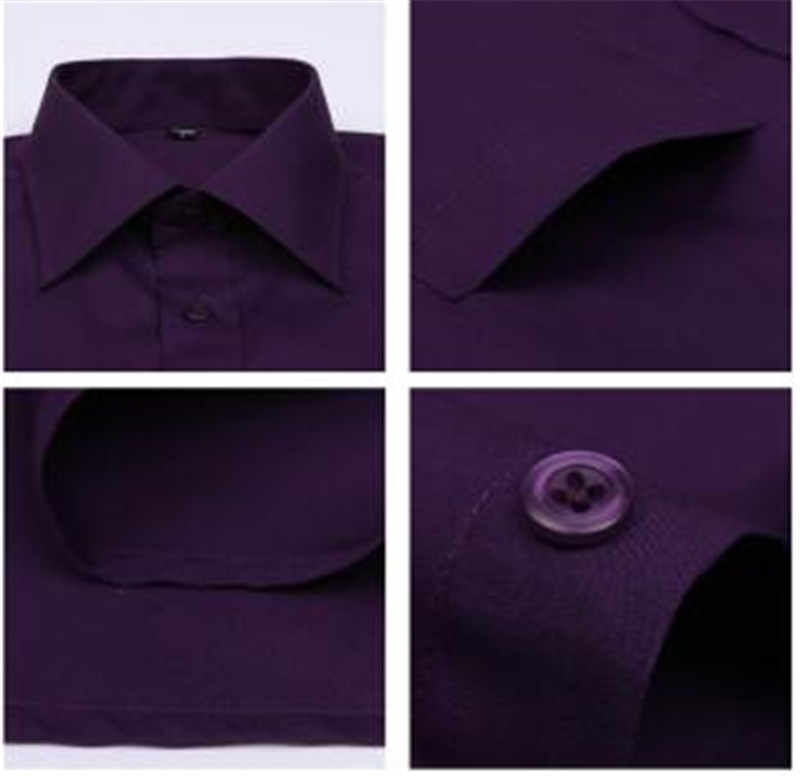 Dark Purple Striped French Cufflink Men Shirt Long Sleeved Shirt Male  Social Business Dress Work Men Business Shirts Formal 4XL