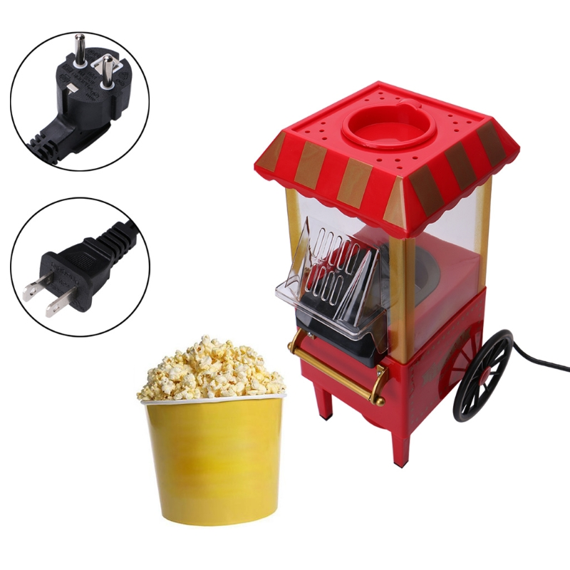 110V 220V Useful Vintage Retro Electric Popcorn Popper Machine Home Party Tool EU Plug DIY Corn Popper Children Gift Hot Air