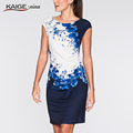 2016 Кайге. Нина Летнее платье Женщины bodycon платье плюс размер женская одежда шик элегантный sexy моды о-образным вырезом платья печати 9026