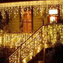 크리스마스 조명 야외 장식 5 미터 droop 0.4 0.6m led 커튼 고드름 문자열 조명 새해 웨딩 파티 화환 빛