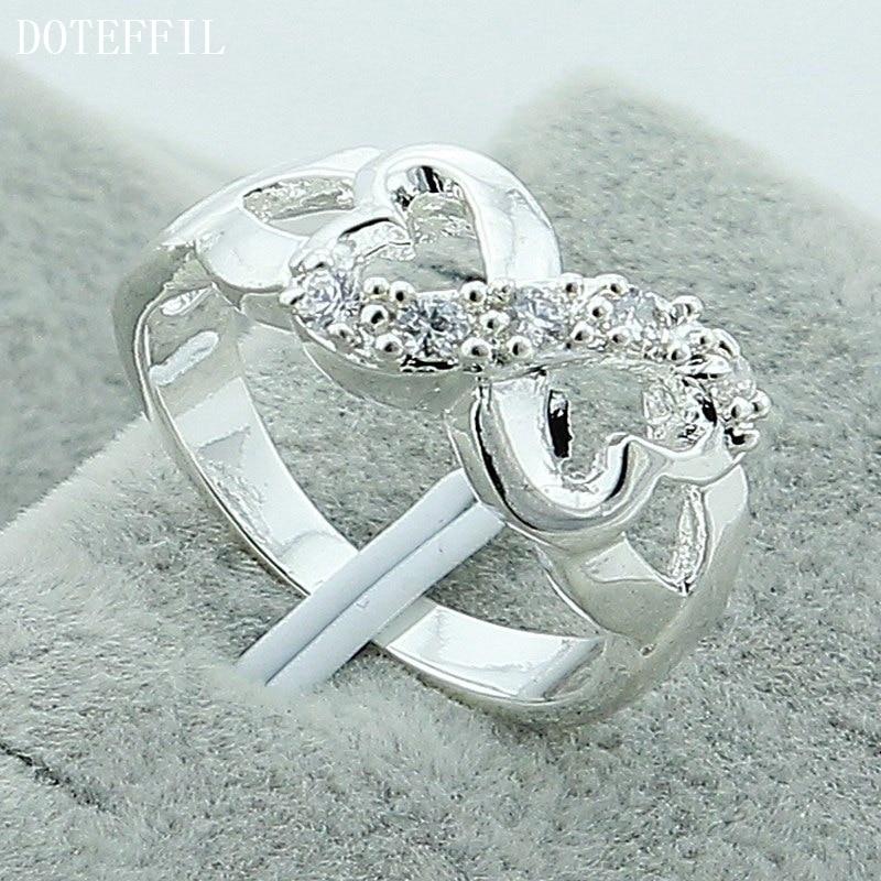 DOTEFFIL 925 srebro podwójny pierścień z sercem dla kobiet ślub przyjęcie zaręczynowe moda urok biżuterii