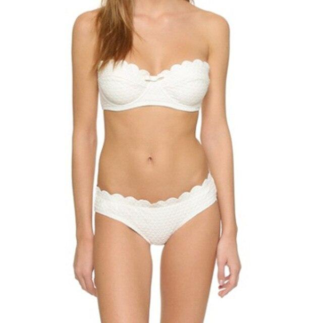 2018 forma a dente di sega push up bikini delle donne, bianco ...