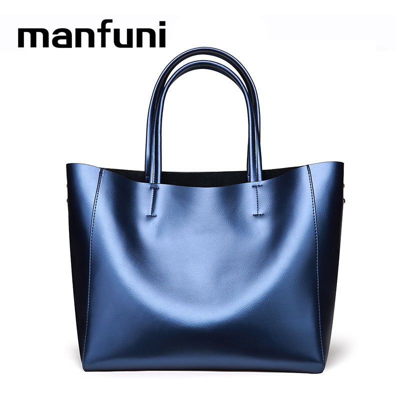 MANFUNI 2018 NOW Bags For women Genuine Leather Women Handbag Oil Wax Leather Vintage Casual Tote Large Capacity Shoulder Bag woma engineering architecture education model urban engineering vehicles building blocks children toys compatible with legoe