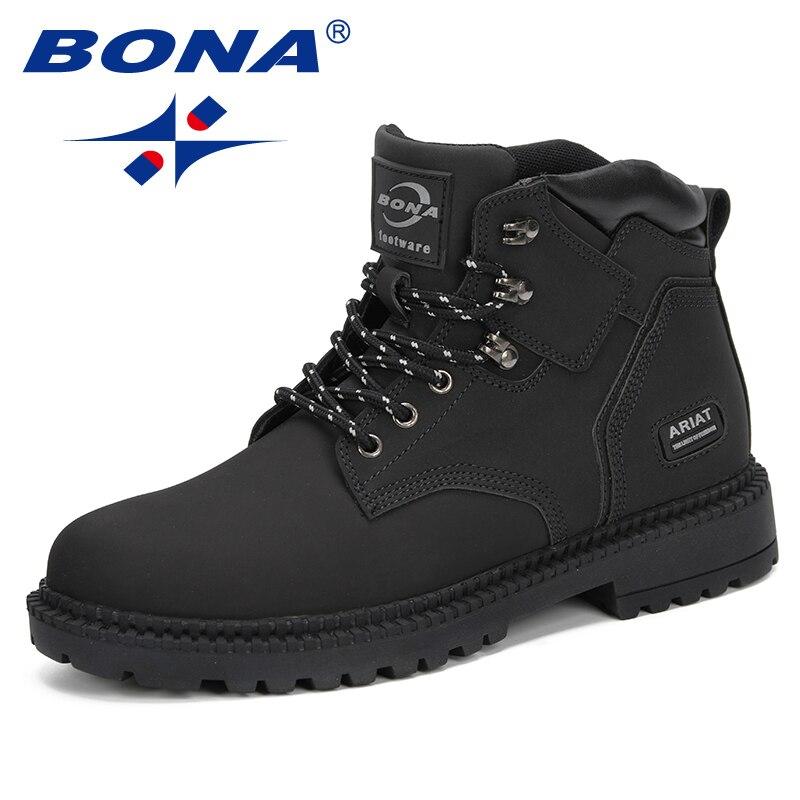 BONA nuevo estilo 2019 hombres botas Otoño Invierno botas hombres botas tobillo ZAPATOS DE TRABAJO hombres botas tácticas cómodo tobillo de moda zapatos-in Botas básicas from zapatos    3