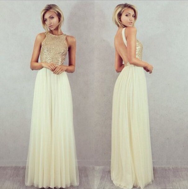 Charmming Chiffon Tulle with Top Champagne Gold Sequin   Bridesmaid     Dresses   Formal Prom   Dress   2017 Long Special Occasion   Dresses
