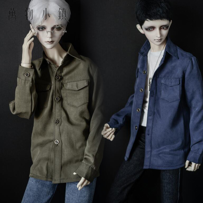 New 1/3 1/4 Uncle Boy BJD MSD Doll Clothes Leisure Loose Army green/lividity Shirt Coat new handsome fashion stripe black gray coat pants uncle 1 3 1 4 boy sd10 girl bjd doll sd msd clothes