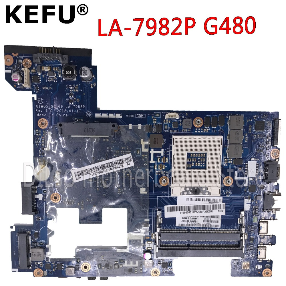 KEFU LA-7982P G480 motherboard For Lenovo G480 Laptop mainboard QIWG5-G6-G9 LA-7982P Test GM original motherboard gold and silver forever love steel couple ring for men 8 size