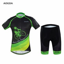 New Men Bike Clothing Suits Green Cycling Jersey Sets Bicycle Top Cycling Wear Shirts Garment Clothes