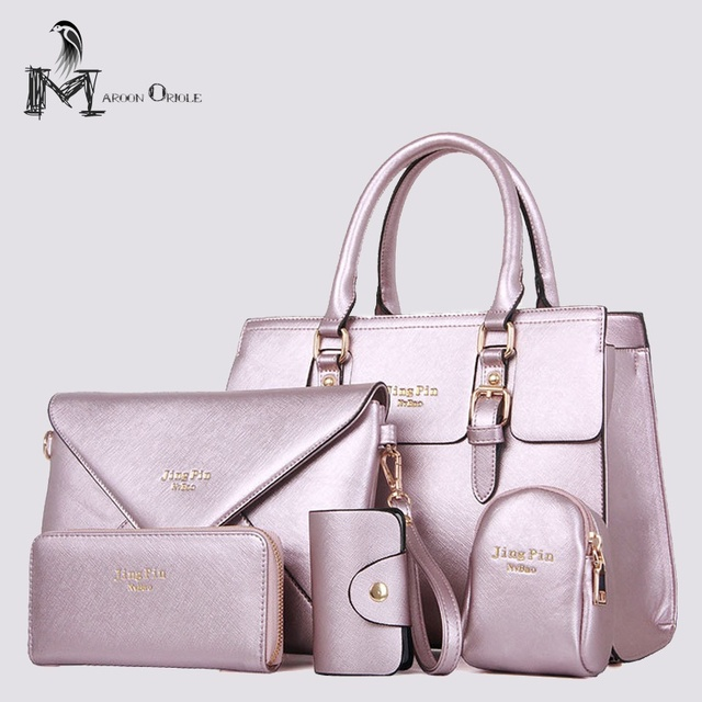 Metallic Handbag Luxury Women Set 5 Piece With Wallet Bag Designer Gold