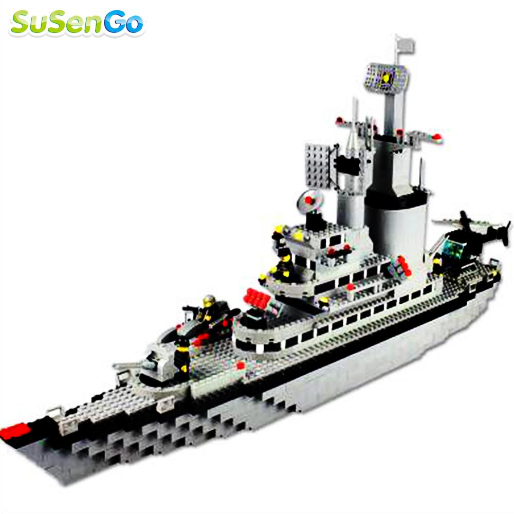 ФОТО SuSenGo Building Block Large Warships Destroyer Model Helicopter Construction Kids Toys Super Gift