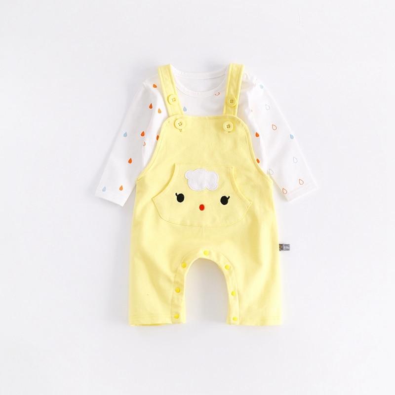 Baby Girls Boys Clothing Set Pullover Pocket Bibs Pant+T-shirts 2pcs Suits Cartoon Pattern Newborn Infant Coverall Babykleding