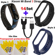 Mi Band 3 Bracelet Strap For Xiaomi USB Charger Miband Protector Film Smart Wrist 14 Pcs