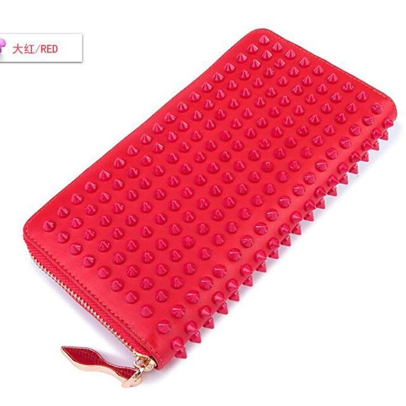 100% Cowhide Colored rivet Women Clutch Wallet Long Credit Cards Female Wallets Genuine Leather Woman Wallet Zipper Red Purse