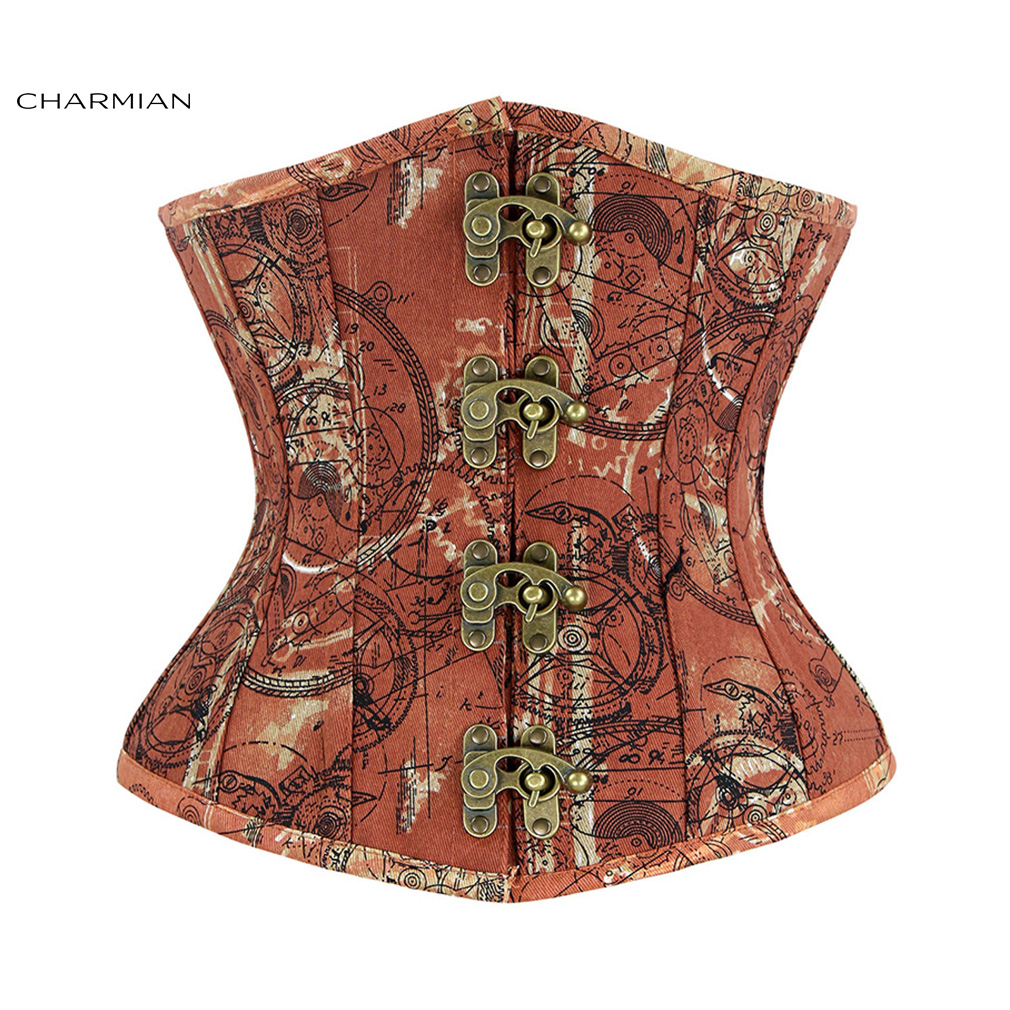 Charmian Women's Steampunk Underbust Corset Retro Spiral Steel Boned Denim Corsets and Bustiers Shapewear Waist Trainer