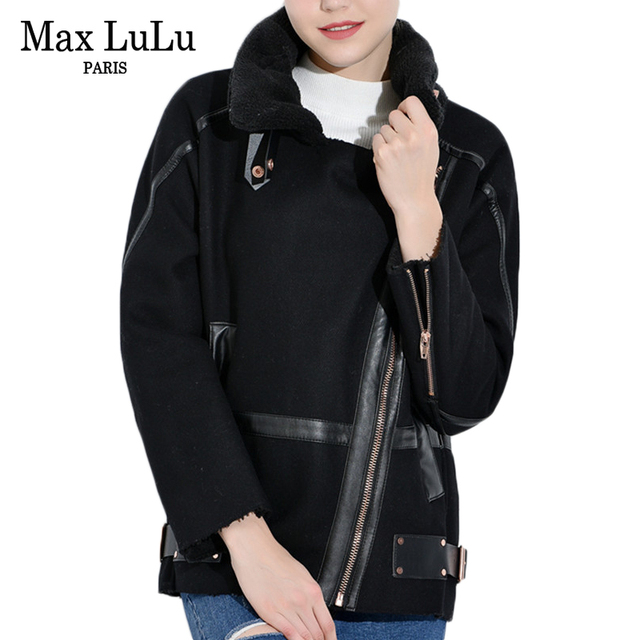 best cheap 97533 21665 US $69.8 |Max LuLu Luxus Verdicken Warme Kleidung Frauen Bomber Jacken  Leder Wolle Damen Casacos Pilot Frau Wintermantel Fell Oberbekleidung in  Max ...