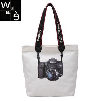 Wallike kobiety płótno torba na zakupy torba damska tote śliczny aparat wzór nadrukowany codzienna torba na ramię codzienna Bookbag letnie torby plażowe