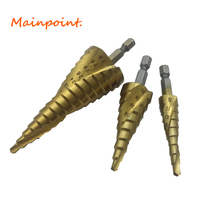 3Pcs 1 4 Hex Shank Spiral Flute Step Drill Bits Set HSS 4241 4 12 4
