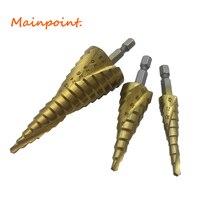 3Pcs 1 4 Hex Shank Spiral Flute Step Drill Bits Set HSS 4241 4 12 4