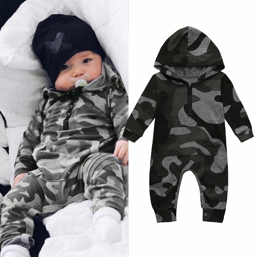 Infant Baby Boy Hooded Camouflage Romper Newborn Baby Camo Long Sleeve Romper New Warm Autumn Jumpsuit Outfit Boys Clothing 827