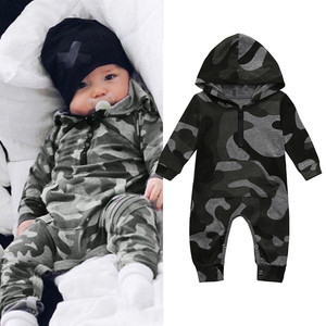 Infant Baby Boy Hooded Camouflage Romper Newborn Baby Camo Long Sleeve Romper New Warm Autumn Jumpsuit Outfit Boys Clothing 827(China)