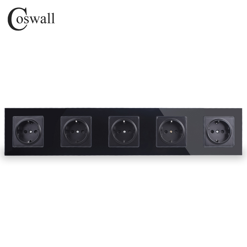 COSWALL Wall Crystal Glass Panel Black 5 Way Power Socket Plug Grounded 16A EU Standard Electrical