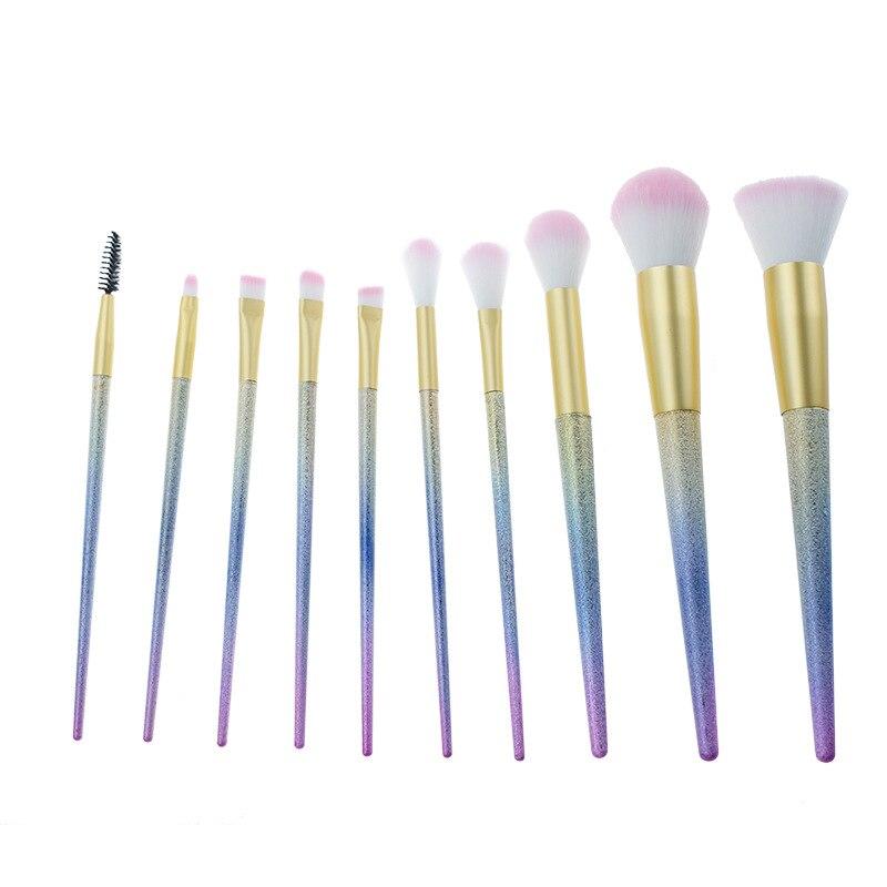 Free Shipping 10PCS Unicorn Makeup Brushes Rhinestone Tools Powder Foundation Eye Lip Concealer Face Cosmetic Makeup Brush Kit reduced coenzyme q10 coq10 powder in cosmetic 700g lot free shipping