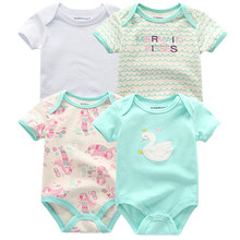 4 PCS/lot Baby Romper pink red Short Sleeve cute suit Clothes sets 2019 Summer Jumpsuit Baby Boy Girl Clothing baby costume(China)