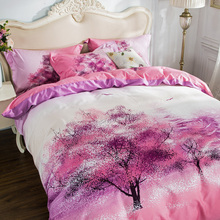 sakura trees 3D tree print 100% Cotton Bedding set Queen King size 4pcs Quilt/Blanket/Duvet cover Flat bed sheet pillow cases