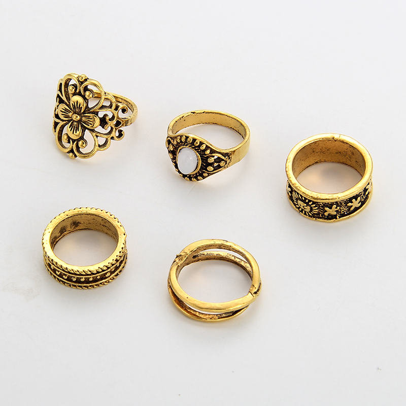 Aliexpress Buy Welback 5pcs Lot Boho Vintage Wedding Bands Style Fashion Jewelry For Women Rhinestone Flower Tribal Totem Silver Color Rings From