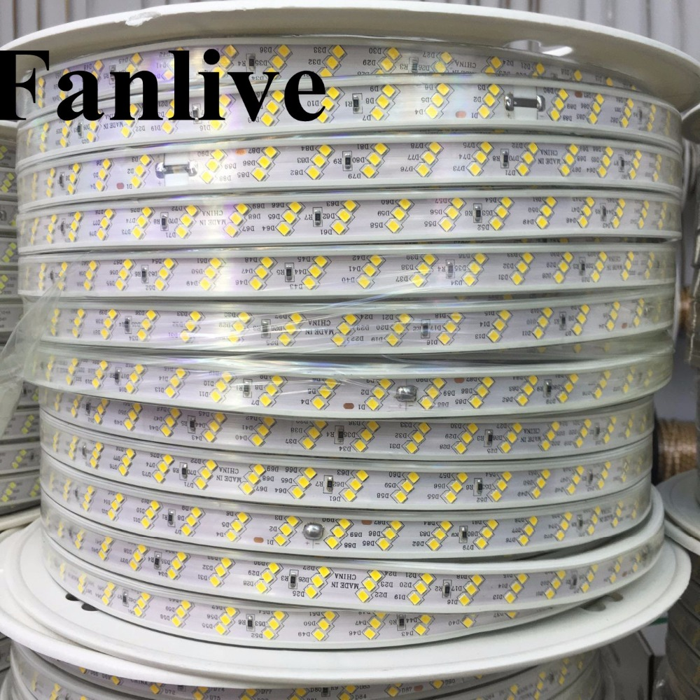 100M Fanlive Ac 220v Led Strip Light 2835 SMD 180LEDS/M Three Row Warm White/ White Tiras Tape Waterproof Ip67