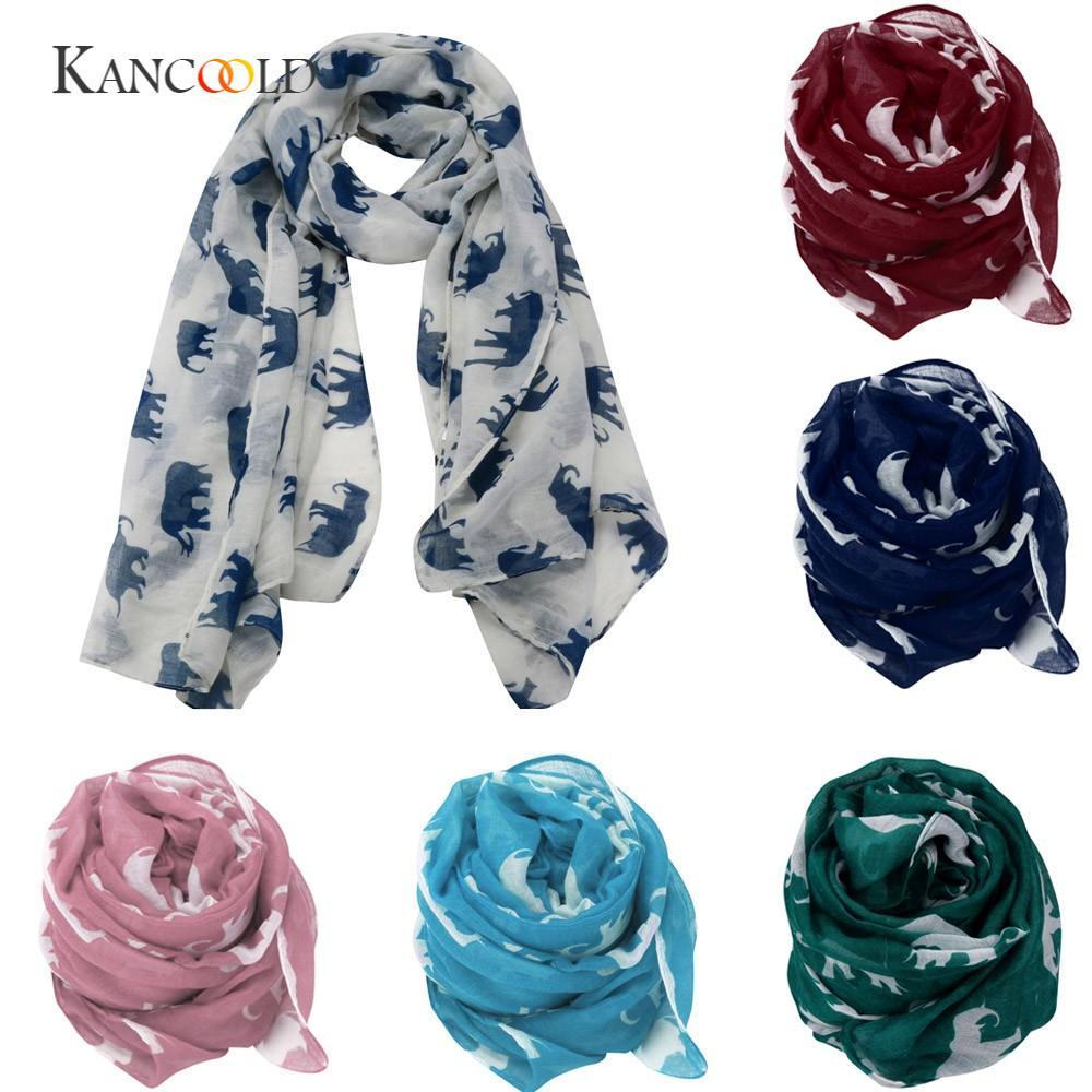 KANCOOLD silk   scarf   shawl lover Unique Style Lady Womens Long Cute Elephant Print   Scarf     Wraps   Shawl Soft   Scarves   gloves PJAN18