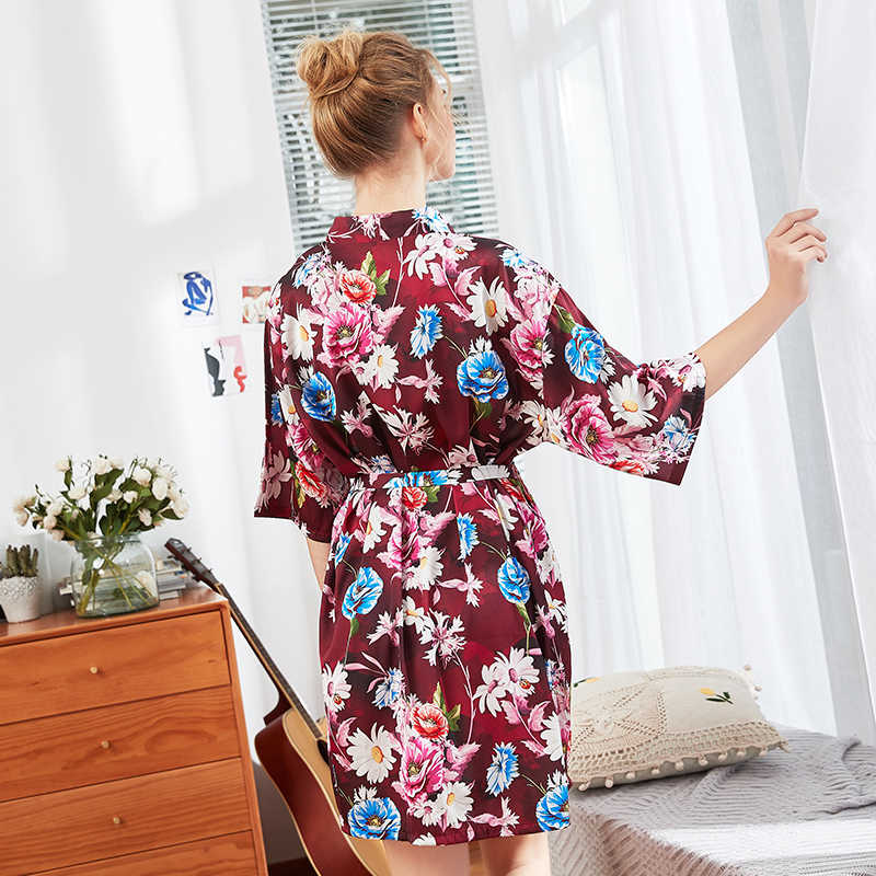 2e681c905d Daeyard Spring Summer Silk Robe 2019 New Women Half Sleeve Flora Print Robe  Plus Size Bathrobe Sleepwear Nighty Dressing Gown