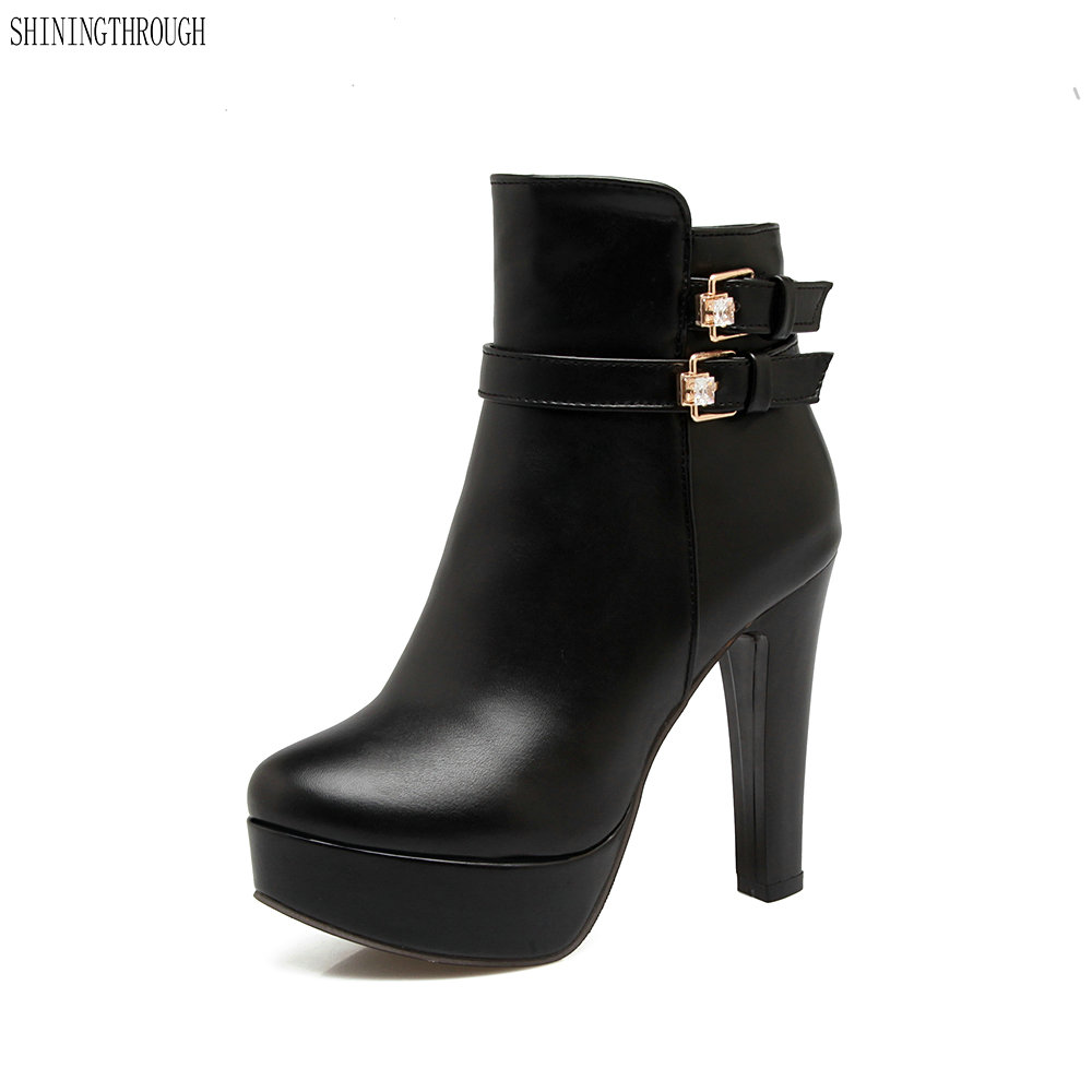 New buckle dress shoes high heel boots woman rouned toe platform ankle boots spring autumn women boots