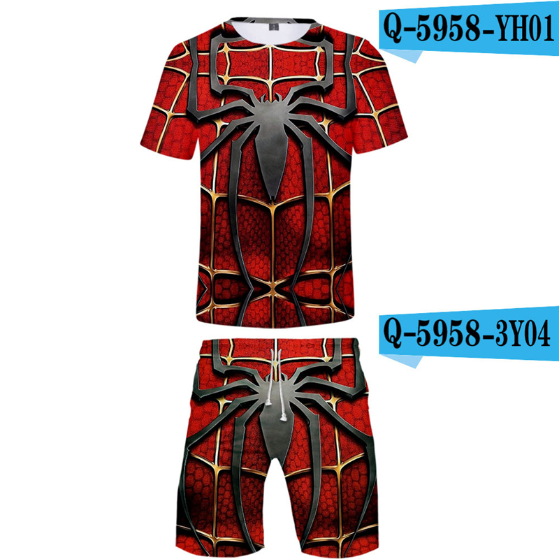 Spriderman Far From Home Men Sets Summer 2019 New Movie Printed Spiderman Costume Sportwear Breathable Streetwear Soft Suits